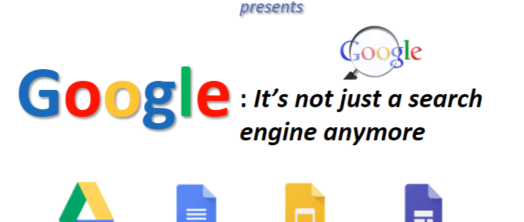 Image shows the Google logo with a magnifying glass and the text Google, its not just a search engine